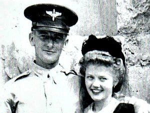 Mom and Dad (Charmian and Edward Orkney) at Alamo in San Antonio, TX during Dad's flight training in 1942 or 1943