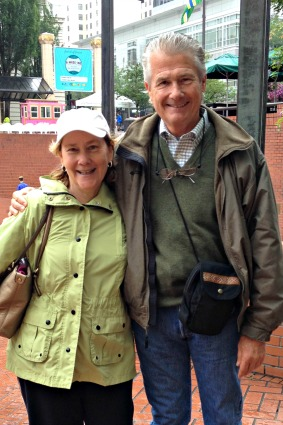 Corky and I at Pioneer Square, Portland.  Copyright, Janna Orkney, 2014