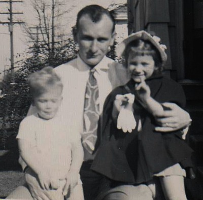Dad, Corky and me at Russet Street House, North Portland in 1947.